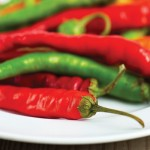 red and green hot peppers