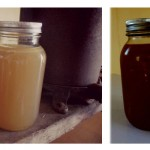chicken and beef stock in jars