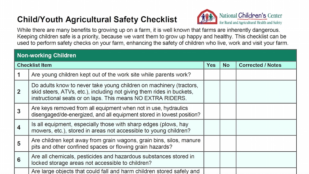 checklist can keep children safer on farms farm and dairy