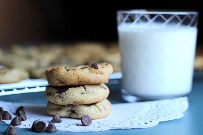 Soy Milk Chocolate Chip Cookies with a cup of soy milk.