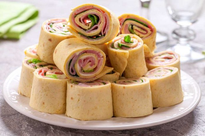 A plate of turkey apple roll-ups.