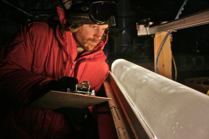 Scientist and ice core