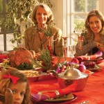 family gathered around Thanksgiving table
