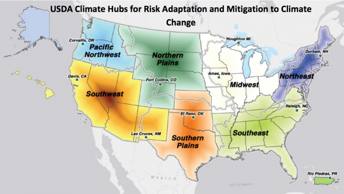Climate hubs map