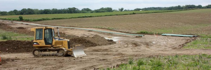 Pipeline construction through farmland