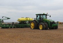 John Deere planter in action
