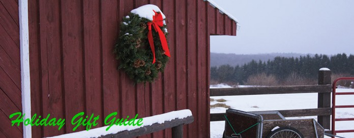 Barn with Christmas wreath