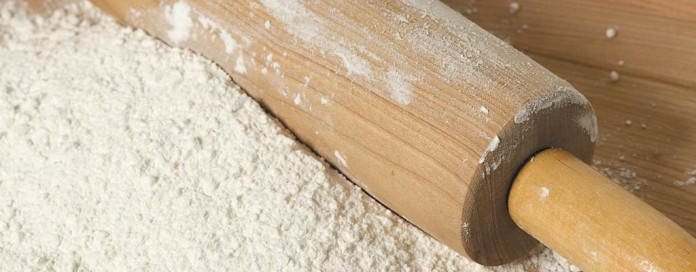 rolling pin in flour
