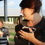 Tammy Mazzaferro holding black rabbit
