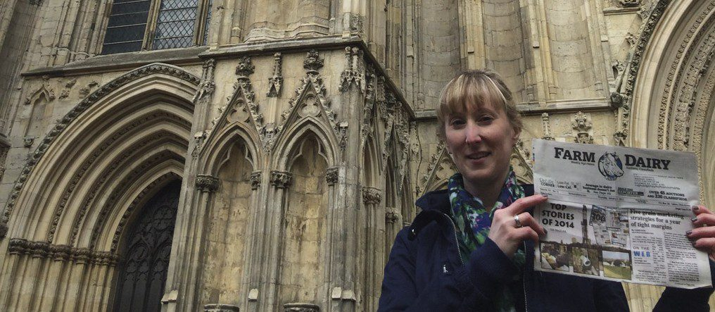 Carrie Kimble, of Alliance, Ohio, along with her mom, sister and Farm and Dairy, spent several days traveling in Scotland, Wales, England and Paris. The trip was a lifelong dream for Carrie's mom and memorable for everyone. Carrie is pictured in front of the York Minster cathedral in York, England.