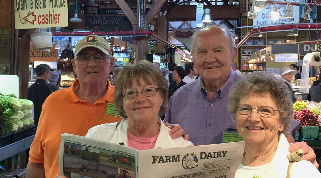 John and Midge Brainerd (left), of Navarre, Ohio, and Harold and Eleanore Yoder, of Louisville, Ohio, check out the fresh produce, meat and seafood at the Granville Produce Market in Vancouver, British Columbia, Canada. The couples were returning from a cruise of the Hawaiian islands where they toured the historical sites and the coffee, pineapple and macadamia nut plantations. Farm and Dairy traveled along!