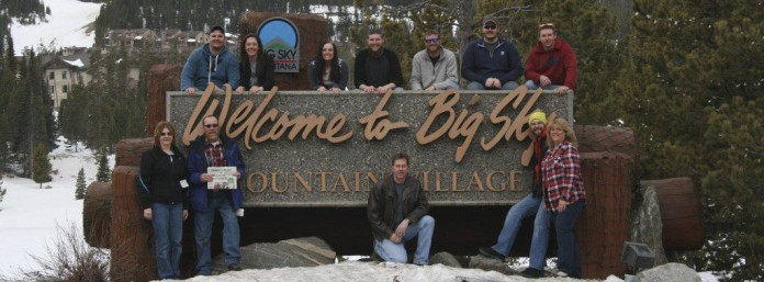 Todd and Susan Zimmerman brought Farm and Dairy on vacation to Big Sky, Montana, in March Ten others vacationed with the Zimmermans. They were (top left): Cody Zimmerman, Emily Pollock, Kaitlyn McCartney, Bob Hickle, John Gates, Kyle Zimmerman and Matthew Keller; (bottom left): Dennis and Cathy Hickle, Todd Zimmerman, Matthew Lawrence and Susan Zimmerman. Cody and Emily and Bob and Kaitlyn got engaged on top of Lone Peak in Big Sky.
