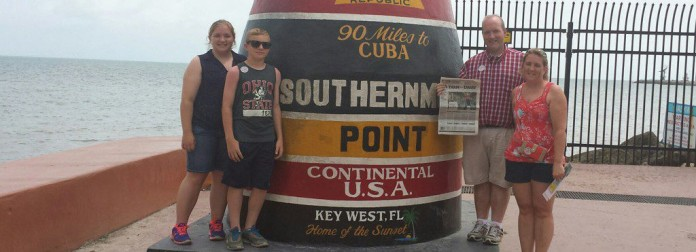 Pictured (L-R): are Ashley, Jaret, Jeremy and Brandy Hahn, all of Salem, Ohio, took Farm and Dairy on vacation in Key West, Florida, the week of June 15.