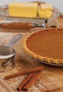 pumpkin pie and baking ingredients