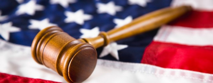 gavel on U.S. flag