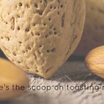 nuts up close with text 'here's the scoop on toasting nuts'