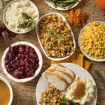 Thanksgiving table (aerial view)