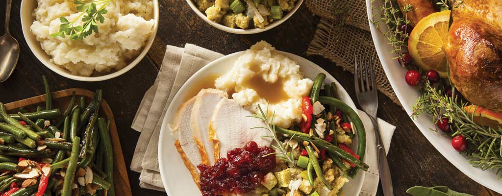 turkey, mashed potatoes, green beans and stuffing