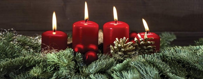 candles and pine