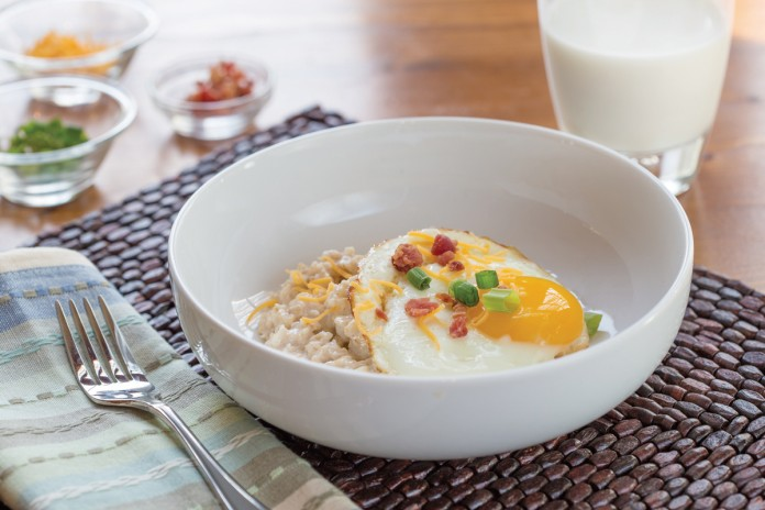 Savory Oatmeal with Bacon and Egg