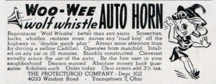 Woo-Wee Wolf Whistle auto horn ad 1948