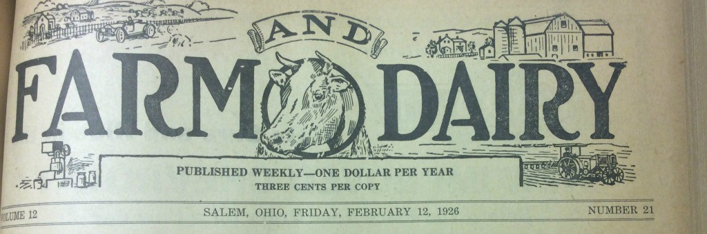 1926 Farm and Dairy masthead