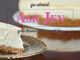 cheesecake with Ask Jen text