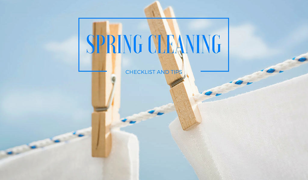 clothesline with 'spring cleaning checklist and tips' text
