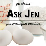 baking ingredients with Ask Jen text