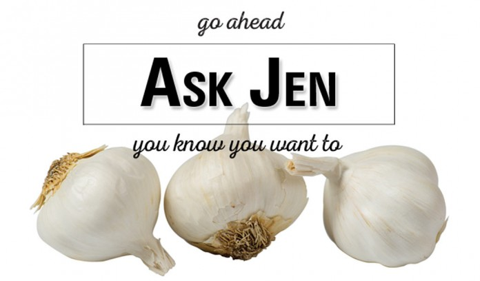 garlic bulbs with Ask Jen text