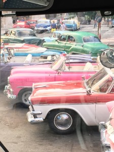Colorful vintage taxis