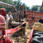 Antique straw baling demo