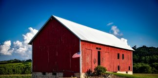 Barn and American flag