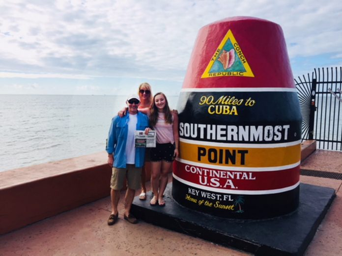 The Hittle Family vacationing in the Florida Keys at the Southern Most Point in the U.S. monumnet