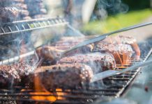 Grill loaded with burgers