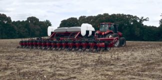 soybean planter in field