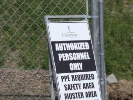 sign at drilling site