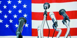 flag and microphones