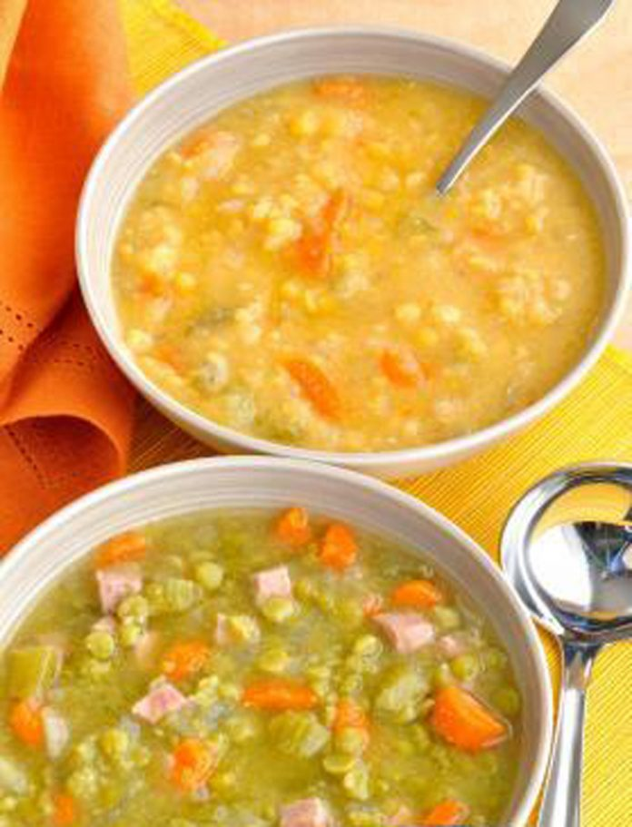 Two bowls of split pea soup