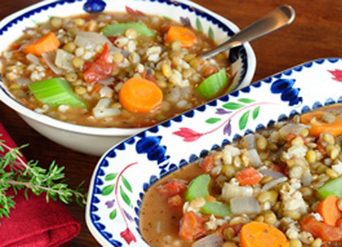 Barley Lentil Soup in a bowl and turrine