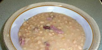 A Bowl of Slow Cooker Old Fashion Ham Bean Soup