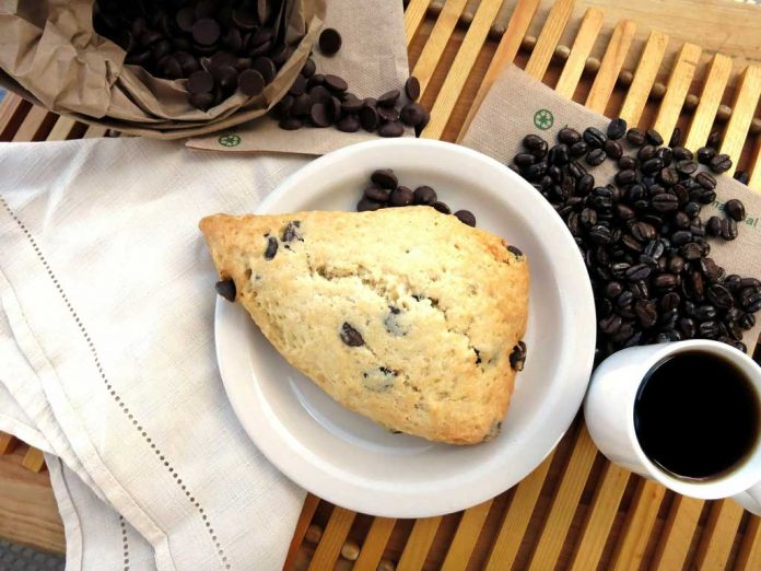Chocolate Chip Scones served with coffee.
