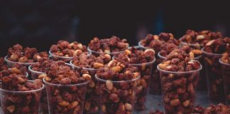 Hot Chocolate Spiced Nuts in small plastic cups