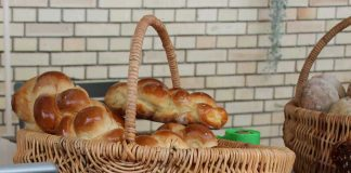 Challa Bread piled in a basket