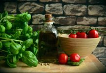 olive oil, basil, tomatoes
