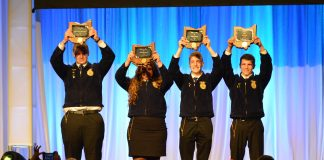 The FFA'ers who earned state Star awards, or Stars Over Ohio, celebrated following their introduction during the state convention May 2-3. Pictured (L-R) Cody Clark, Zane Trace FFA; Madison Whitt, Ridgewood FFA; Jacob Wuebker, Versailles FFA; and Montgomery Boes, Upper Sandusky FFA. (Mickayla Overholt photo.)