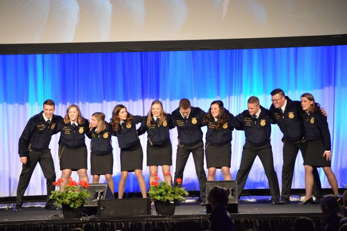 The 2018-2019 Ohio FFA officers wrapped up their terms during the 91st Ohio FFA State Convention. The officers included (L-R) Kolesen McCoy, president; Grace Lach, vice president at large; Emma Dearth, vice president at large; Mallory Caudill, sentinel; Kalyn Strahley, treasurer; Bailey Eberhart, reporter; Holly McClay, vice president; Tyler Zimpfer, vice president at large; Grant Lach, vice president at large and Gretchen Lee, secretary. (Mickayla Overholt photo.)