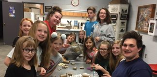 Rangers 4-H Members making toys for rescued rabbits.