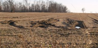 rutted wet farm field, Ohio farm, planting,