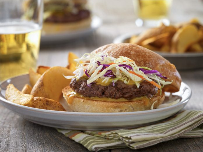 Carolina Barbecue Burger on a plate with chips.